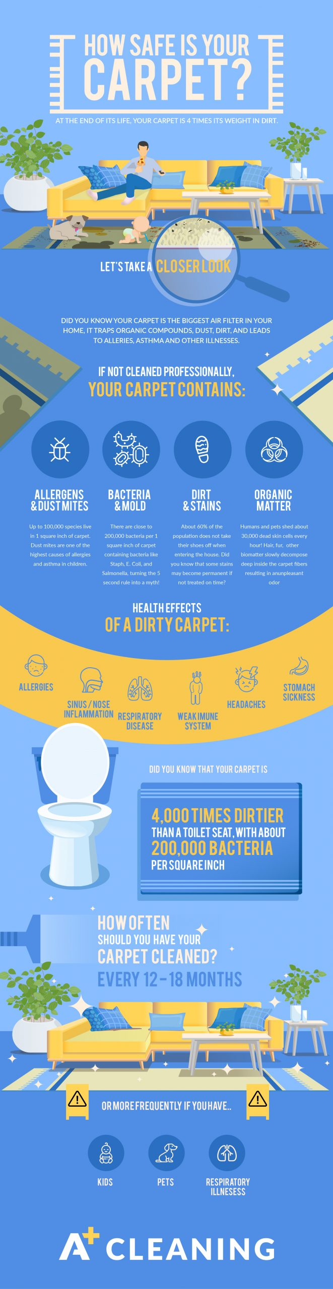 Infographic describing dangers of dirty carpets